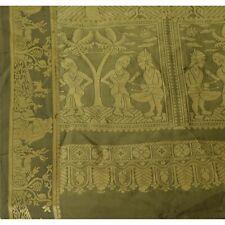 "Sanskriti Vintage Art Silk Woven Baluchari Design Fabric Decor Craft 40""X45"""