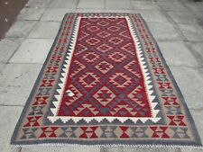 Kilim Vintage Traditional Hand Made Oriental Brown Red Wool Kilim  253x155cm