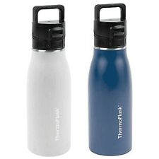 1050068 Thermo Flask, 2pk 17oz Hot & Cold (White & Blue), Double Walled Insulate