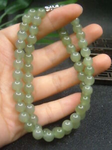 Antique Chinese Nephrite Celadon Hetian OLD Jade 7mm Beads Necklace Pendants