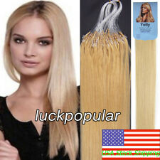 Loop Beads Micro Ring Tip Remy Human Hair Extensions Medium Blonde 16Inch 50gram