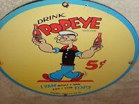 """VINTAGE 1949 """"DRINK POPEYE THE SAILOR MAN SODA"""" 11 3/4"""" PORCELAIN METAL GAS SIGN"""