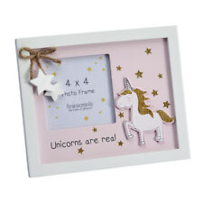 New Unicorns Are Real with Star Detail Wooden 4x4 Picture Photo Frame