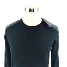 Belstaff Italy Kerrigan Crewneck Wool Sweater Embellished Black Large NWT
