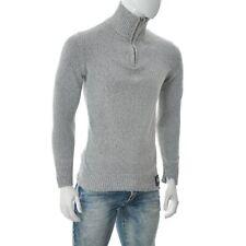 Superdry Vintage Premium Mens High Neck Quarter Zip Sweater Pullover Size M Grey