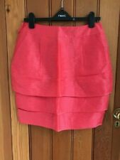 marks and spencer coral pink layered silk linen blend delicate tulip skirt 12