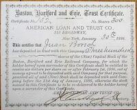 'Boston, Hartford & Erie Railroad Company' 1886 Stock Deposit Trust Certificate