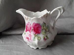 Vintage German Porcelain Pink Rose Gold Trim Creamer Pitcher