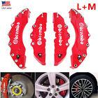 4Pcs 3D Style Car Disc Brake Caliper Cover Front & Rear Kit Universal RED L+M