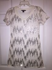 Christmas Tee White With Silver Sequins Women's Small By Metric Knits