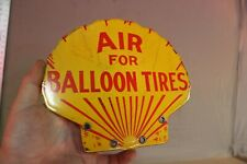 SHELL BALLOON TIRES ECO AIR STATION PORCELAIN SIGN GAS OIL CAR FARM CLAM SHELL