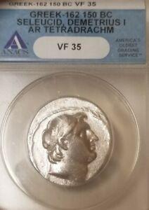Seleucid Kingdom Demetrius I Tetradrachm ANACS VF35 Ancient Silver Coin