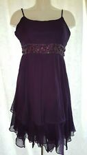 A Wear - Purple Jewelled Waisted Strappy Summer Dress - Size 14 / 42