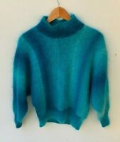 HANDMADE HAND KNIT women's electric blue 80s 90s fluffy jumper size approx S - M