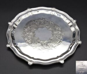 """SMALL CHASED SALVER TRAY S.J.LEVI & Co SANDWICH CAKE APPETIZER 8""""  SILVER PLATED"""
