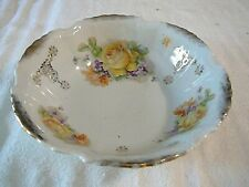 """NICE Vintage K.St.T. Silesia Germany Bowl Ruffled Edge 9"""" Yellow Floral Design"""