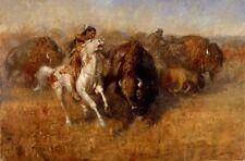 Buffalo Hunt by Andy Thomas Native American LE Print 30x20