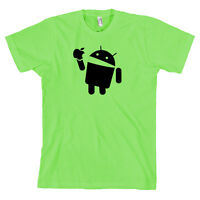 Google Android Eating Apple Droid Logo T Shirt LIME GREEN Tee *ALL SIZES*