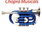 Pocket Trumpet 3V 100% Brass Chopra Make (Blue) with Mouth Piece +Case