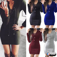 Fashion Womens Lace Up Knitted Sweater Bodycon Jumper Dress Winter Party Dresses