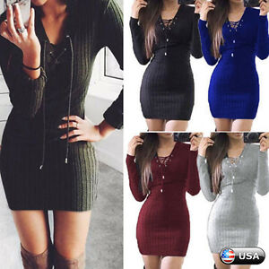 Womens Lace Up Knitted Sweater Bodycon Jumper Dress Winter Party Dresses