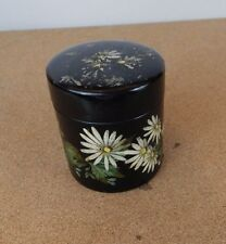 Vintage Lacquered Papier Mache Circular pot Flowers & Birds 7.5 cm dia 8cm tall.