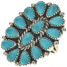 Navajo Cluster Design Turquoise Petit Point Ring Silver Old Pawn Style