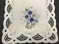 Blue Rose Embroidered Lace Tablecloth Placemat Table Runner Scarf Wedding Party