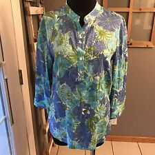 Talbots Tencel Lyocell Periwinkle Teal Blue Green Sequin Floral Tunic Blouse XS