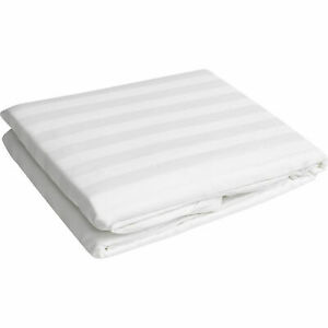 """Queen Size 15"""" Deep Pocket 1PC Fitted Sheet 1000 TC Egyptian Cotton White Stripe"""