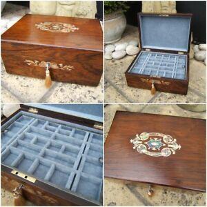 ANTIQUE JEWELLERY BOX -  19c INLAID ROSEWOOD - WONDERFUL INTERIOR