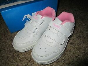 Toddler Girls White/Pink Sneakers shoes size 5 Brand New