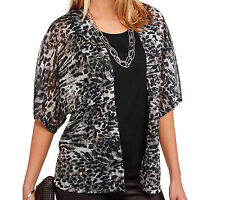 XL Womens 2fer Top with Flowy Cardigan WHITE STAG black leopard animal print