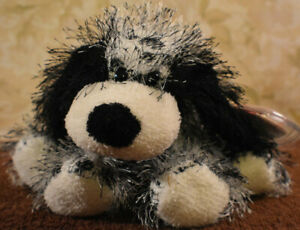 """TY Punkies Beanie Plush """"Polka-dot"""" 2002 White and Black Spotted Puppy Dog 8"""""""