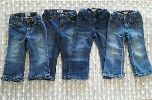 Lot Of 4 Toddler Girls Blue Jeans Size 24 Months/2T Place, Gap, Old Navy EUC