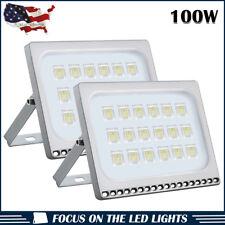 2 X100W LED Flood Light Outdoor Security Lighting Cool White Slim Lamp US Stock