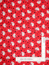 Hello Kitty Cat Faces on Bright Red Cotton Fabric Springs 1 Yard 25 Inches