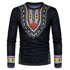 Men's Slim Fit O Neck Long Sleeve African Dashiki Muscle Tee Casual T-shirt Tops