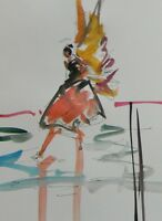 JOSE TRUJILLO - NEW Artwork ORIGINAL Watercolor Painting Minimalist Angel 9X12