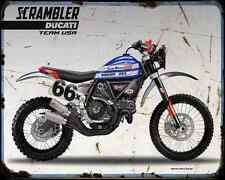 DUCATI SCRAMBLER Baja Racing Teams 2 A4 Imprimé Photo moto Vintage Aged