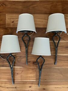 Wrought Iron Wall Sconce Fixtures Wall - Set of 4 - hardwire