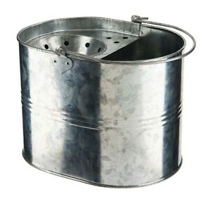 14L Galvanised Steel Mop Bucket Heavy Duty Industrial Cleaning Traditional Style