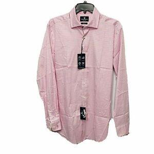 Psycho Bunny Mens L/S Modern Fit Stretch Dress Shirt $89 Pink 15.5 34/35