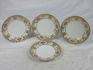 Vintage Noritake gold flower basket 4 dessert plates white & gold floral LOT 1