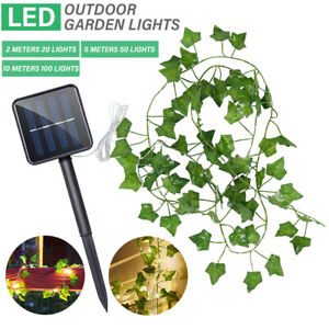 50/100 LED Solar Powered Ivy Fairy String Lights Garden Outdoor Wall Fence Light