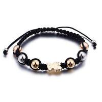 14K Gold Cute Teddy Bear Pendant Beaded Bracelets Fashion Woman Jewelry TS93526