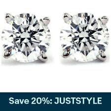 1 CT. T.W. Genuino Diamante Blanco Oro Blanco O Amarillo Tachas 14K