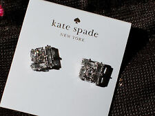 Kate Spade NY Rhodium Plate Silver Clear STUD Cluster Earrings square micro NWT
