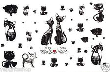 Cat Temporary Tattoos, Sexy Cat Tattoos - Tribal Cat and Footprints