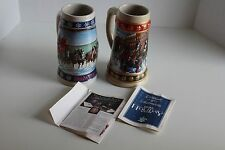Lot of 2 Holiday Steins Beer Tankard Mug Budweiser 1993 1995 Ceramarte Anheuser-